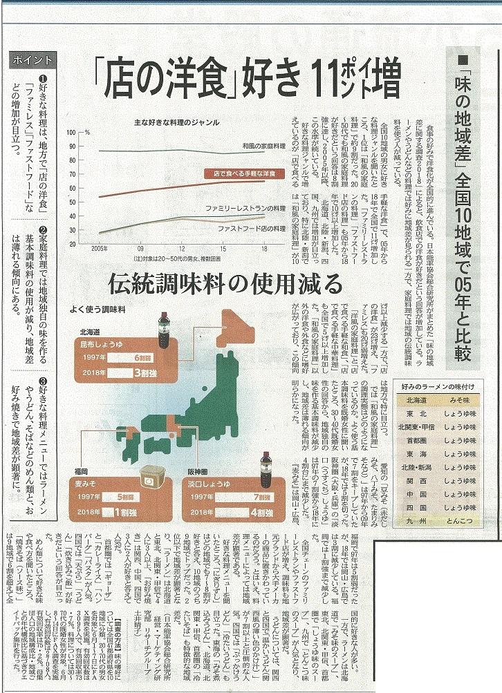 日経MJに掲載された味の地域格差の調査に関する新聞記事